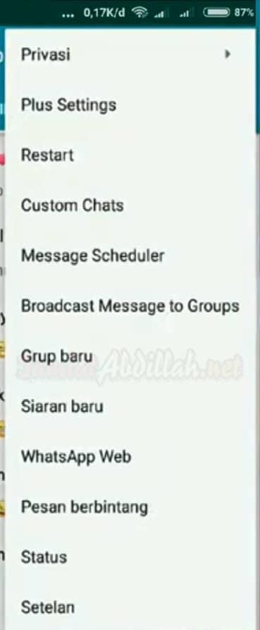 Menu WhatsApp Plus
